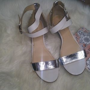 White and Silver Sandal